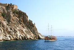 Cruise. By the coast in Alanya, Turkey stock images