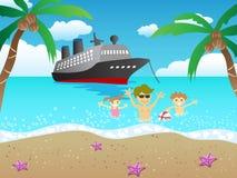 Cruise aan strand Stock Afbeelding
