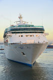 Cruise ahead. Front view of luxury cruiseship Royalty Free Stock Photo