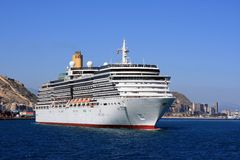The cruise Arcadia. Leaving the port of Alicante Royalty Free Stock Photo