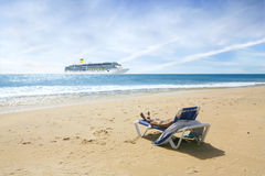 Cruise and beach Stock Image
