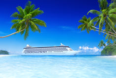 Cruise Beach Palm Tree Summer Vacation Concept Stock Photography
