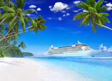 Cruise on the Beautiful Tropical Beach Stock Photos