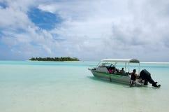 Cruise boat in Aitutaki Lagoon Cook Islands Royalty Free Stock Photos