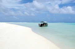 Cruise boat in Aitutaki Lagoon Cook Islands Stock Photos