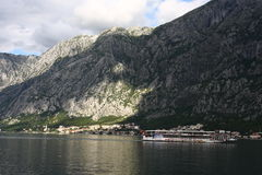 Cruise boat on Boka Kotorska Bay Montenegro Royalty Free Stock Image