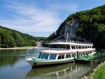 Danube cruiser at Regensburg Royalty Free Stock Photo