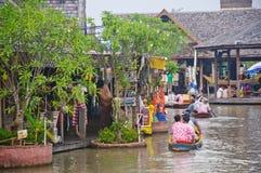 Cruise boat in the floating market. Cruise boat travel in the See Pak floating market, Cholburi, Thailand Stock Image