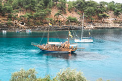 Cruise Boat. Greece cruises on the Mediteranian Sea Royalty Free Stock Images
