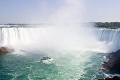 Boat and Horseshoe Falls from Niagara Falls - Ontario, Canada Stock Images