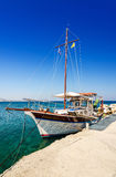 Cruise boat in the Kolymbia harbor Stock Image