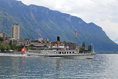 Cruise boat La Suisse on Lake Geneva. MONTREUX, SWITZERLAND - MAY 09, 2013: Cruise boat La Suisse on Lake Geneva (Lac Leman) in Montreux, Switzerland. Paddle Stock Photos