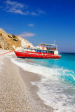 Cruise boat at Lalaria Beach, Skiathos, Greece Stock Photo