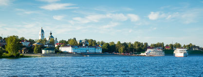 Cruise boat myshkin. View on cruise liners waiting near town terminal in Myshkin, Russia Royalty Free Stock Images