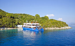 Cruise boat near Skorpios Island, Greece Stock Photos