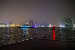 Cruise boat in night canals of Amsterdam. Stock Images