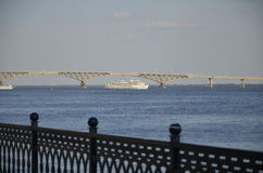 Cruise boat on the River. Cruise boat on the Volga river Royalty Free Stock Photo