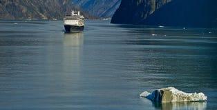 Cruise boat. Sailing near Sawyer Glacier in Tracy Arm fjord near Juneau, Alaska Stock Photo