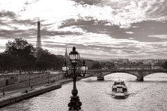 Cruise Boat on the Seine River with Eiffel Tower Stock Image
