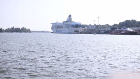 Cruise boat ship in the Helsinki harbor stock footage