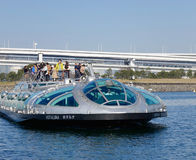 Cruise boat in Tokyo, Japan. The Cruise boat on the sea at Odaiba Seaside Park in Tokyo, Japan Stock Images