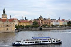 Cruise boat in the Vltava river Royalty Free Stock Photos