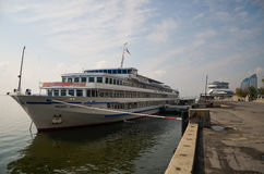 Cruise boat. On the Volga river Stock Images