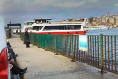Cruise Boats People Eminonu Istanbul. Turkey royalty free stock photo