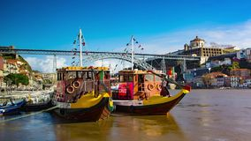 Cruise boats in Porto stock footage