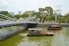 Cruise Boats on the Singapore River Royalty Free Stock Image