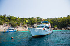 Cruise boats with tourists off the island in the Andaman Sea Stock Photo