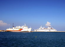 Cruise and cargo ships in Mediterranean sea. Royalty Free Stock Photo