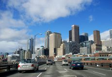 A Cruise through the City. Driving into downtown Seattle on a spring day Stock Photography