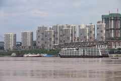 Cruise. The city is chongqing of china,a cruise is sailing on the yangtze river royalty free stock photo