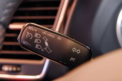 Cruise control button, and car lighting switch Stock Photo