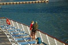 Cruise Couple Leave Port stock photos