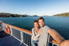 Free Cruise Couple Tourists Taking Selfie On New Zealand Travel. People Traveling On Ferry Boat Marlborough Sounds Taking Self-portrait Royalty Free Stock Photo - 156683035