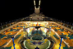 Cruise Deck Night. Lido deck of a cruise ship taken at night with hot tub in foreground Stock Photography
