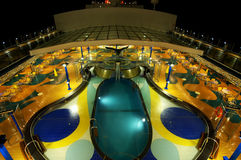 Cruise Deck Pool. Night exposure of the top view of a cruise ship pool deck Royalty Free Stock Images