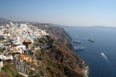 Cruise Destination. Thira, Santorini, with a gathering of cruise liners in the Caldera Royalty Free Stock Photos