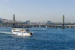 Cruise ferries in Eminonu Port near Yeni Cami in Istanbul, Turk Royalty Free Stock Photography