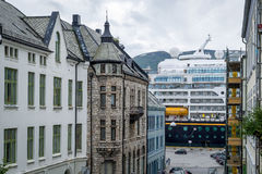 Cruise ferry and city street of Alesund. Stock Photography