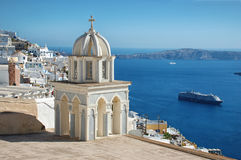 Cruise in front of the island of Santorini Royalty Free Stock Photography
