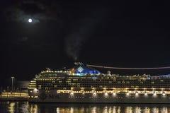 Cruise on a full moon night, Barcelona Royalty Free Stock Photos