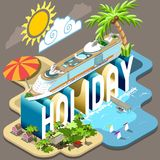Cruise Holiday Isometric Postcard Infographic Royalty Free Stock Images