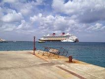 Cruise on the horizon in Cozumel Mexico stock photo
