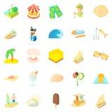 Cruise icons set, cartoon style. Cruise icons set. Cartoon set of 25 cruise vector icons for web isolated on white background Royalty Free Stock Photography