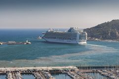 Cruise leaving the port of Cartagena stock photography