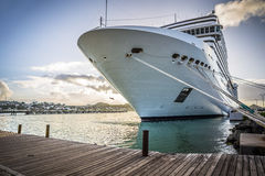 Cruise line anchored to the pier of St. John town, Antigua. Island Stock Photo
