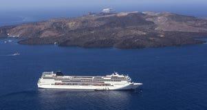 Cruise Line. Luxury cruise line moored in front of Santorini island, Greece stock photos